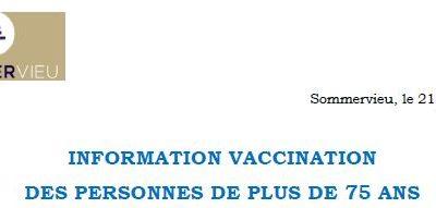 Vaccination Covid19 pour les plus de 75 ans