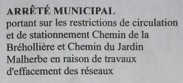 TRAVAUX CHEMIN DE LA BREHOLLIERE